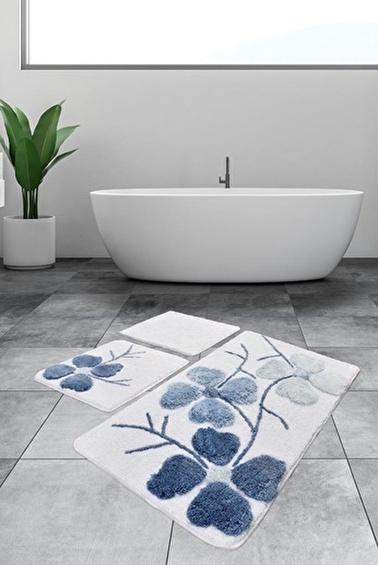 Chilai Home Kırçiçeği 3'lü Set Klozet Takım Akrilik Banyo Paspası Mavi